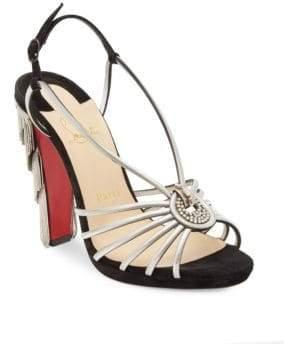 Christian Louboutin Jeanarlow 120 Metallic Suede Block Heel Sandals