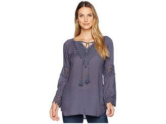Scully Carrie Tie Front Blouse w/ Lace Crochet Insets