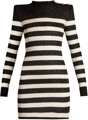 Balmain Striped-knit micro-sequin mini dress
