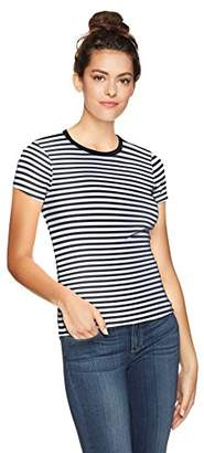 Three Dots Women's Heritage Rib Mykonos Stripe Kennedy S/s Crewneck
