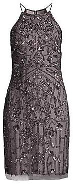 Aidan Mattox Women's Beaded Halterneck Cocktail Dress