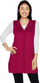 Susan Graver Rayon Nylon Button Front SweaterVest