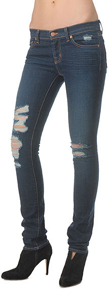 "J Brand 12"" Torn Ripped Skinny Jean in Dark Vintage, Jett, and White"
