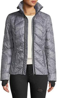 Blanc Noir Metallic Zip-Front Quilted Puffer Jacket with Reflective Trim