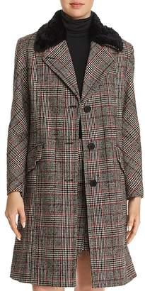 McQ Faux-Fur-Trimmed Plaid Coat