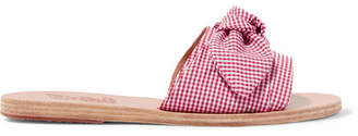 Ancient Greek Sandals Taygete Bow-embellished Gingham Cotton Slides - Red