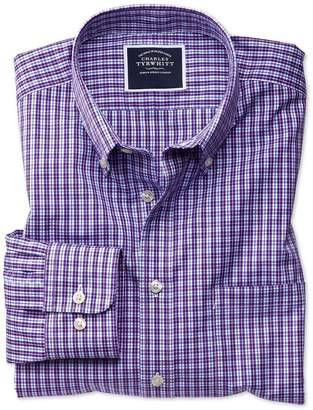 Charles Tyrwhitt Slim Fit Non-Iron Purple Gingham Cotton Casual Shirt Single Cuff Size Large