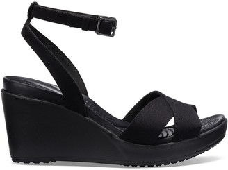 fcb38ef9d3f9 Crocs Leigh II Cross Strap Ankle Wedge Sandals