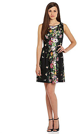 Suzi Chin Floral-Print Fit-and-Flare Dress
