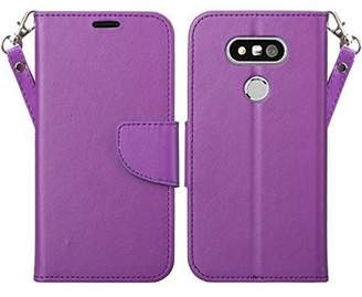 LG Electronics Coverlab G5 Case, Wrist Strap Double Fold Faux Leather Magnetic Flip Fold[Kickstand] Wallet Cover with ID and Card Slots for G 5 - Purple