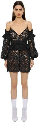 Francesco Scognamiglio Cut Out Shoulder Macrame Lace Dress
