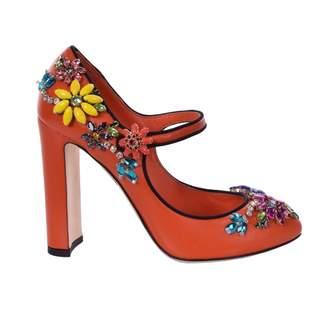 Dolce & Gabbana Orange Leather Heels