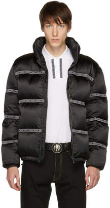 Versace Black Down Logo Tape Puffer Jacket
