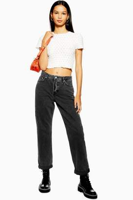 Topshop Womens Washed Black Hayden Jeans