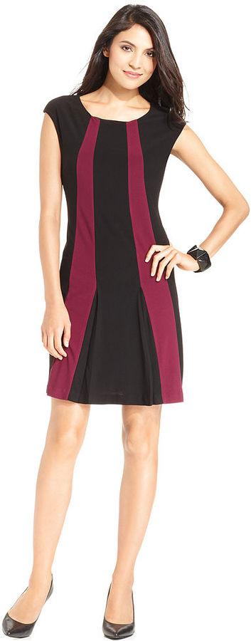 Alfani Petite Dress, Cap-Sleeve Colorblock A-Line