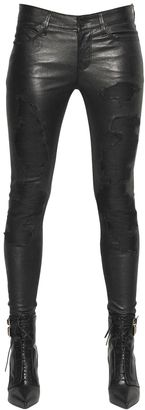 Destroyed Effect Stretch Leather Pants $1,711 thestylecure.com