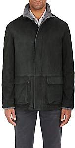 Barneys New York Men's Suede Zip-Front Coat - Green