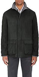 Barneys New York Men's Suede Zip-Front Coat-Green
