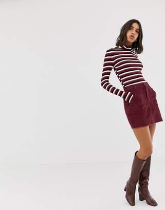 Stradivarius cord mini skirt in burgundy