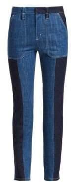 Chloé Bi-Color Cotton Denim Trousers