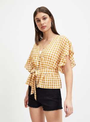 b3a714a72e4d0b Miss Selfridge Yellow Gingham Tie Front Blouse