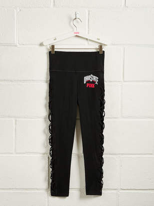 PINK The Ohio State University Cotton High Waist Lace-Up Mesh Ankle Legging