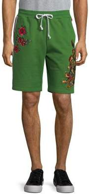 Reason Embroidered Rose and Dragon Shorts