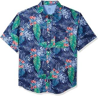 Izod Men's Size Big & Tall Saltwater Chambray Short Sleeve Shirt