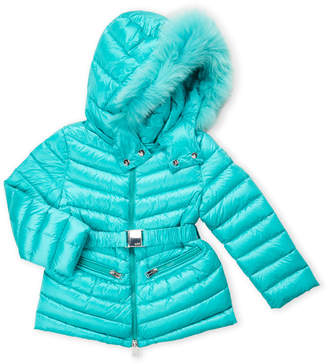 ADD Toddler Girls) Quilted Real Fur Belted Down Jacket