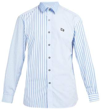 Burberry Logo Embroidered Striped Cotton Shirt - Mens - Blue