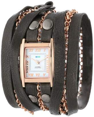 La Mer Women's LMCLIFTON001 -Plated Watch with Black Leather Wrap Band