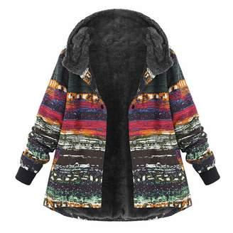 Pervobs Women Coat&Jacket Pervobs Women Plus Size Coat Vintage Floral Long Sleeve Hooded Buckle Fleece Thicken Coats Outwear Overcoat