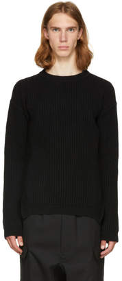 Rick Owens Black Round Neck Fisherman Sweater