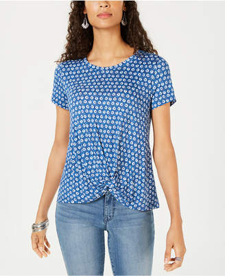Style&Co. Style & Co Twist-Hem Printed Top