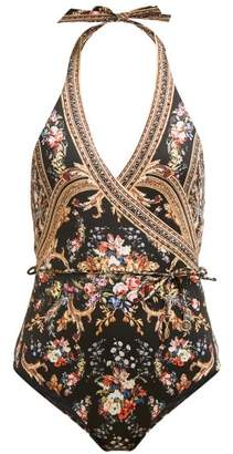 Camilla Friend In Flora Halterneck Swimsuit - Womens - Brown Print