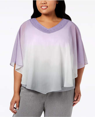 Alfred Dunner Plus Size Smart Investments Ombre-Overlay Top