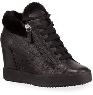 Giuseppe Zanotti Fur-Lined High-Top Sneakers, Black