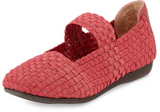 Taryn Rose Bela Woven Mary Jane Flat, Red $135 thestylecure.com