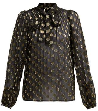 Dolce & Gabbana Polka Dot Fil Coupe Silk Blend Blouse - Womens - Black Gold