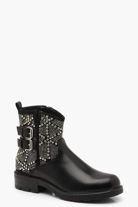 boohoo Studded Cut Work Biker Boots