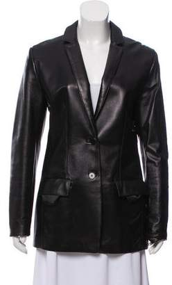 Calvin Klein Collection Leather Notched-Lapel Jackeet