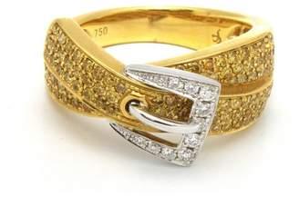 18K Yellow & White Gold Diamond Belt Buckle Ring