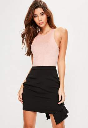 Missguided Tall Exclusive Black Frill Covered Button Mini Skirt, Black