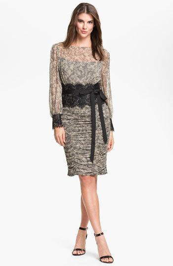 Tadashi Shoji Print Silk & Lace Dress (Online Only)