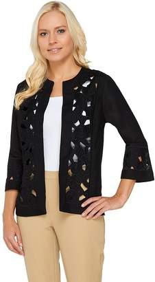 Bob Mackie Bob Mackie's Linen/Rayon Geometric Cutout Jacket
