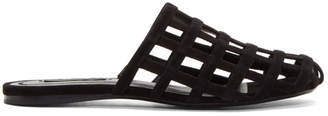 Alexander Wang Black Suede Alison Cage Slippers