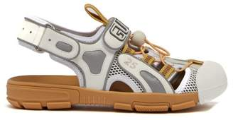 Gucci Logo Embossed Cut Out Leather Sandals - Womens - White Multi