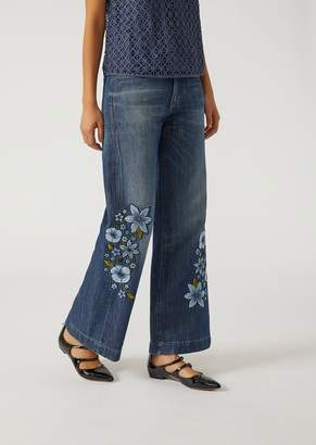 Emporio Armani J43 Wide Fit Jeans With Flower Details