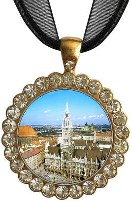 Munich GiftJewelryShop Gold-plated Germany Marienplatz The Rathaus White Crystal Charm Pendant Necklace