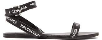 Balenciaga Logo Strap Black Sandals - Womens - Black White
